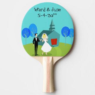 Retro Wedding Couple Ping Pong Paddle