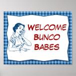 Retro Welcome Bunco Babes Sign Print