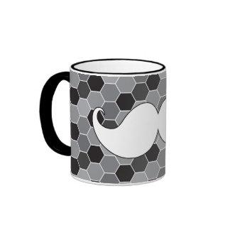 Retro White Handlebar Mustache Moustache Coffee Mugs