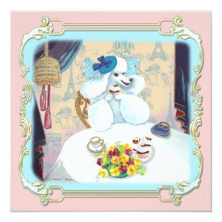 Retro White Poodle Cupcake Tea Party Invitation