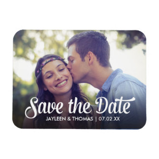 Retro White Script Save The Date Full Bleed Photo Rectangular Photo Magnet