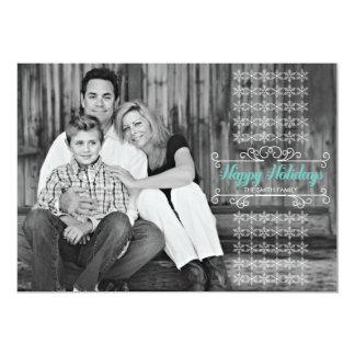 "Retro White Snowflake Band Holiday Photo Card 5"" X 7"" Invitation Card"