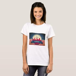 Retro Wichita Kansas Skyline T-Shirt