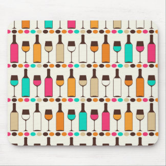 Retro wine bottles and glasses mouse pad