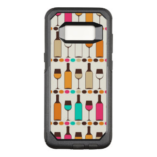Retro wine bottles and glasses OtterBox commuter samsung galaxy s8 case