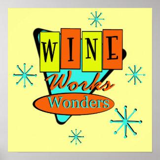 Retro Wine Works Wonders Wall Art Poster