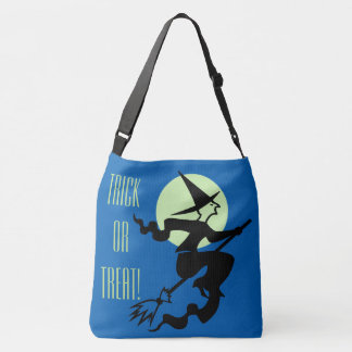 Retro Witch on a Broom Trick or Treat Tote Bag
