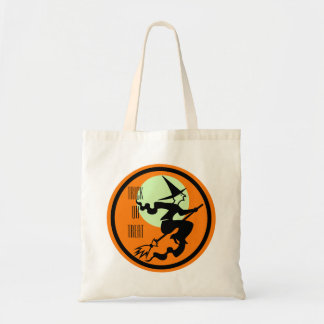 Retro Witch on Broom Trick or Treat Budget Tote Bag