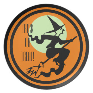 Retro Witch on Broom Trick or Treat Plates