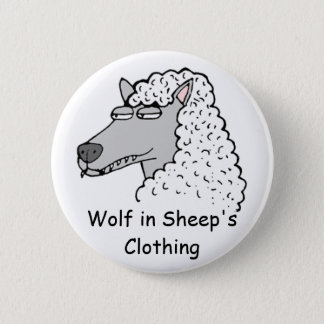 Retro Wolf in Sheep's Clothing 6 Cm Round Badge