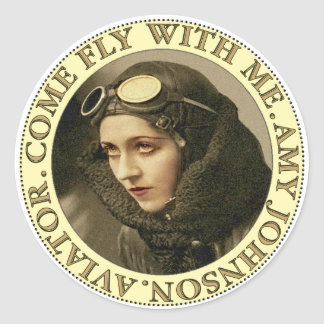 Retro Woman Aviator Round Sticker