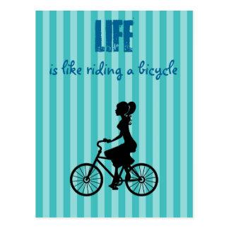 Retro Woman Cyclist Life Is Like Riding A Bicycle Postcard
