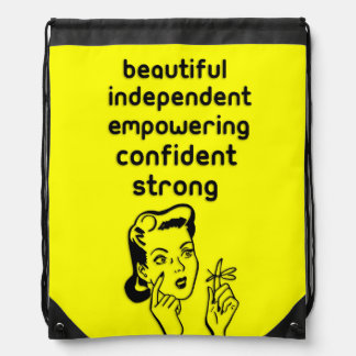 Retro woman finger bow empowering cinch bags