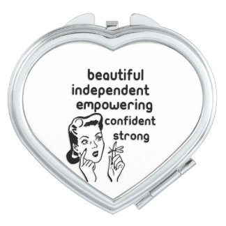 Retro woman finger bow empowering makeup mirror