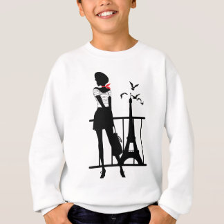 Retro woman red and black silhouette with Eiffel T Sweatshirt