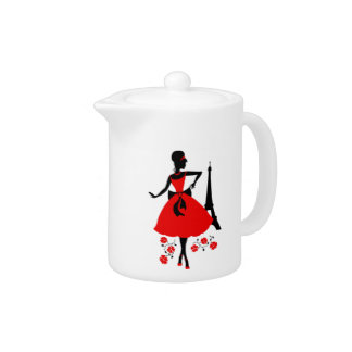 Retro woman red black silhouette with Eiffel Tower