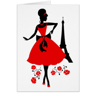 Retro woman red black silhouette with Eiffel Tower Card