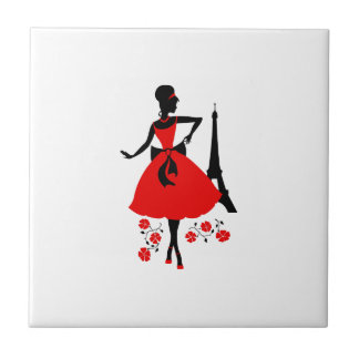 Retro woman red black silhouette with Eiffel Tower Tile