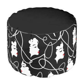 Retro woman red black silhouette with elegant bead pouf