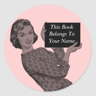 Retro Woman with a Clipboard Bookplate Stickers