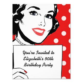 Retro Woman with a Sign Birthday 11 Cm X 14 Cm Invitation Card