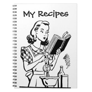 Retro Woman With Cookbook Spiral Notebooks