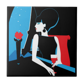 Retro woman with wine silhouette with Eiffel Tower Tile