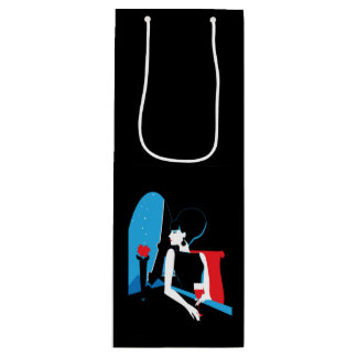 Retro woman with wine silhouette with Eiffel Tower Wine Gift Bag