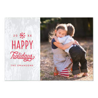 Retro Woodgrain Happy Holidays Photo Card