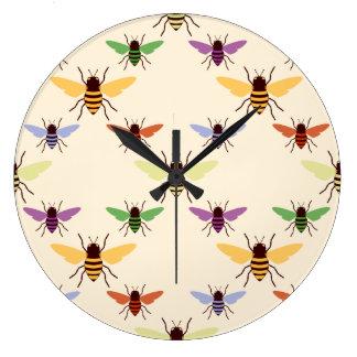 Retro woodland rainbow bees bumblebees pattern large clock