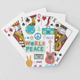 Retro World Peace Icons Playing Cards