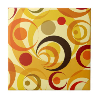 Retro yellow and orange circles tile