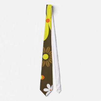 Retro yellow and orange flowers on brown tie