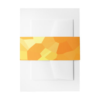 Retro Yellow and Orange Stained Glass Sunset Invitation Belly Band