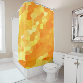 Retro Yellow and Orange Stained Glass Sunset Shower Curtain