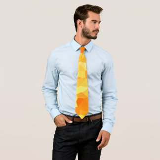Retro Yellow and Orange Stained Glass Sunset Tie