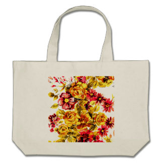 Retro yellow and red flowers bag