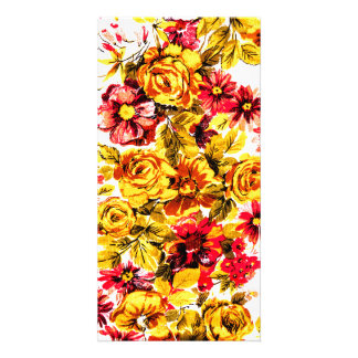 Retro yellow and red flowers photo greeting card