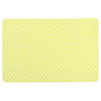 Retro yellow and white polka dot floor mat