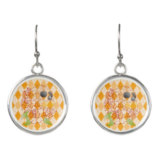 retro yellow argyle roses  sugar skull earrings