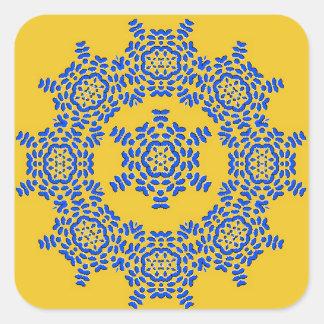 Retro Yellow & Blue Flower Ceramic Tile Stickers