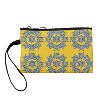 Retro Yellow & Blue Flower Tile Key Coin Clutch