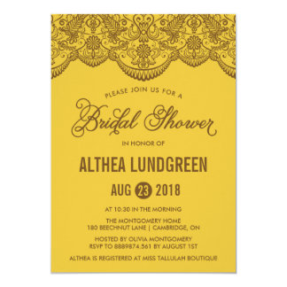 Retro Yellow Brocade Lace Bridal Shower Invitation