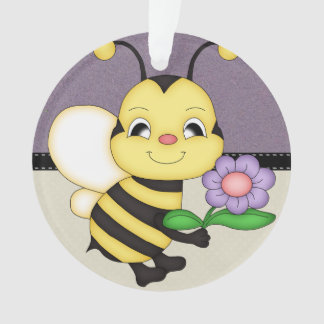 Retro Yellow Bumble Bee Ornament