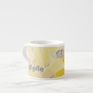 Retro Yellow Daisy Monogrammed Espresso Mug