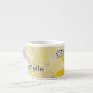 Retro Yellow Daisy Monogrammed 6 Oz Ceramic Espresso Cup