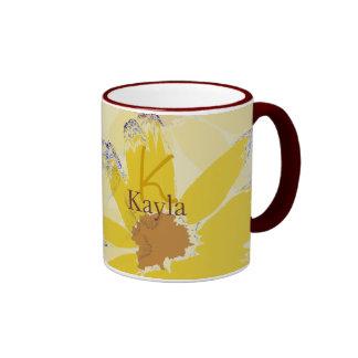 Retro Yellow Daisy Monogrammed Ringer Mug