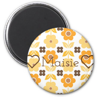 Retro Yellow Flowers Customisable Round Magnet