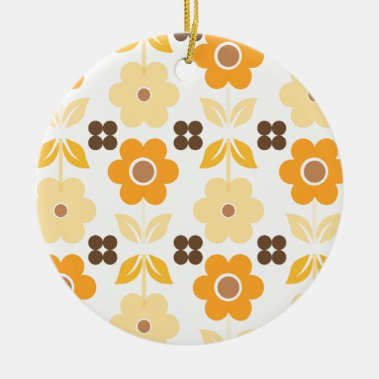 Retro Yellow Flowers Dble-sided Ornament