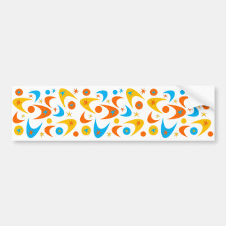 Retro Yellow Orange & Aqua Starburst Boomerang Bumper Sticker